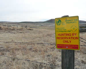 Typical Hunt by Reservation shown on a property line